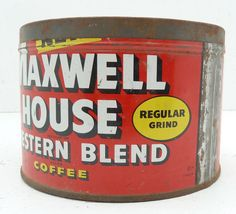 Maxwell House coffee can  Red White and Yellow  by TheRetroRanch, $12.00