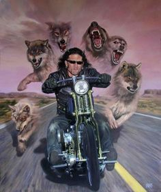Michael Knepper is a germany based freelance artist . He is greatly inspired by bikers right out of the biker scene. Harley Davidson Kunst, Harley Davidson Motorcycles, Motorcycle Art, Bike Art, David Mann Art, Double Exposition, Wolf Painting, Triumph, Wolf Spirit
