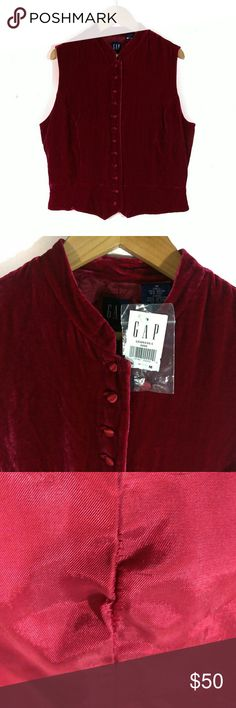"""Vintage GAP Blood Red REAL Velvet Button Up Vest NWT. Mint condition sans a small pucker on the inside lining seam. See photos.   Size M. 19"""" pit to pit, 21"""" shoulder to lowest point, 19"""" at shortest, 16"""" across waist, 13.5"""" shoulder to shoulder.   A rare gem! This vintage (AND NWT!!) GAP, blood red, REAL velvet (rayon & silk) vest with its Mandarin collar and fully satin lined button(s) front is in one of 2018's hottest colors and fabrics! Fully lined.   Not sure how to wear it? Check out…"""