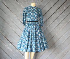 Austrian Family Tree - 50s Novelty Print Dress