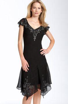 J Kara Black Beaded Flutter Sleeve Chiffon Dress