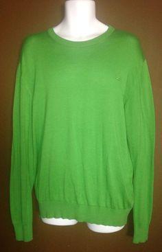 Ermenegildo Zegna Bright Green Crew Neck Sweater Size L #ErmenegildoZegna #Crewneck