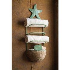 towel rack bathroom high Starfish Towel Rack With Basket In Antique Blue , Bath Towel Racks, Towel Rack Bathroom, Towel Holder, Bathroom Storage, Ocean Home Decor, Coastal Decor, Coastal Living, Pallet Towel Rack, Mermaid Bathroom Decor