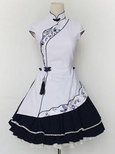 White Stand Collar Cotton Blend Lolita Dress - Milanoo.com