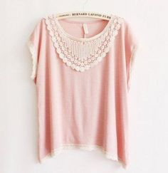 Blusa crochê rosa claro