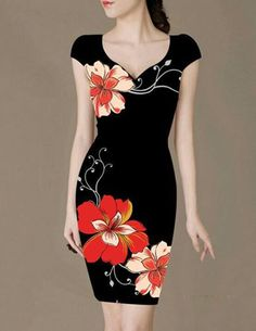 15 Dresses, Simple Dresses, Beautiful Dresses, Fashion Dresses, Dress Painting, Clothing Patches, Painted Clothes, Embroidered Clothes, Floral Fashion