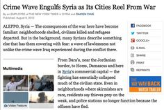 August 9, 2012 - ARTICLE - RULE OF LAW - CRIME - SAFE AND SECURE ENVIRONMENT - CIVILIAN VICTIMS - HUMANITARIAN LAW - But in the background, many Syrians describe something else that has them cowering with fear: a wave of lawlessness not unlike the crime wave Iraq experienced during the conflict there.