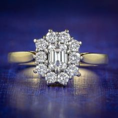 EMERALD CUT DIAMOND CLUSTER RING 18CT GOLD 1.23CT OF DIAMOND cover