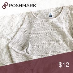 OLD NAVY ivory knitted 3/4 sleeve light top Brand: Old Navy Size: L Condition: great condition   Measurements: Length: Chest:  * Old Navy Tops Blouses