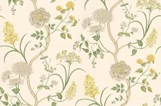 Summer Tree (DAPGST104) - Sanderson Wallpapers - A flamboyant floral trail, with a variety of flowers growing from the same branches: Chrysanthemums, peonies and honeysuckle. Available in 5 colourways – shown in muted yellows and greens on soft cream. Please ask for sample for true colour match.