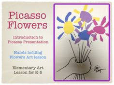 Picasso Flowers - Torn paper collage Art Lesson launchpad for elementary art and classroom teachers.