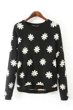 Black Long Sleeve Daisy Pattern Pullover Sweater #Black #Sweater #maykool