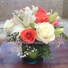 White and coral #centerpiece #weddings
