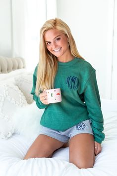 Monogrammed Corded Crew and Grey Sweat Shorts Lounge Set Package – United Monograms Crew Sweatshirts, Crew Neck Sweatshirt, Pullover, S Monogram, Monogram Styles, Monogrammed Pajamas, Top Colour, Lounge, Cozy