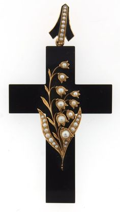 "Victorian ""Lily of the Valley"" 14k Gold, Onyx & Pearl  Pendant C. 1900!"
