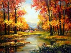 Resultado de imagen para autumn cottage paintings