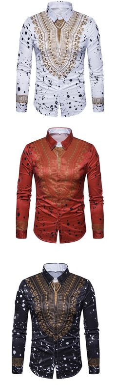 Men's Casual/Daily Street chic Shirt African Shirts, African Wear, African Dress, African Outfits, Cheap Mens Shirts, Mens Shirts Online, African Men Fashion, Mens Fashion, Mens Trends