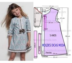 Roupa infantil menina – molde de vesitdo passo a passo In today's publication I will once again address Children's Girl clothing. This dress dresses girls aged 5 years. Sewing Patterns For Kids, Dress Sewing Patterns, Clothing Patterns, Baby Girl Dress Patterns, Little Girl Dresses, Girls Dresses, Dress Girl, Dress Anak, Baby Sewing
