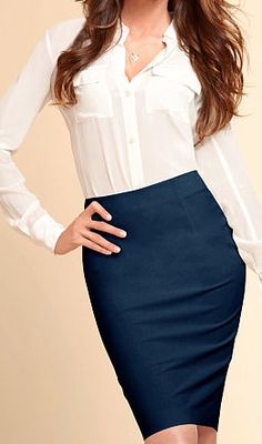 Crisp white shirt, navy blue pencil skirts ready for the office - Business wear for busy ladies