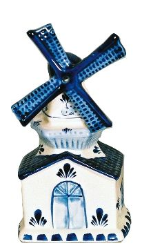 """A beautiful delft blue windmill music box which plays the classic Dutch song """"Tulips from Amsterdam"""". A great gift as a reminder of Holland. - Approximate Dimensions (Length x Width x Height): 7x3.25x"""