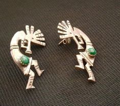 Old Pawn Navajo Sterling Silver Kokopelli earrings, not signed