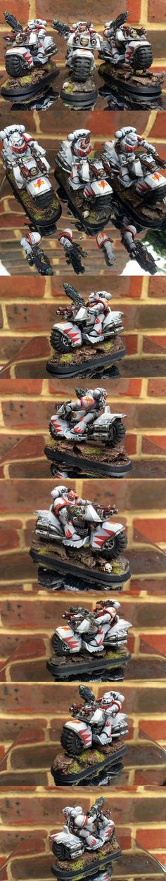Space Marines White Scars Bikers Squad with Grav-guns