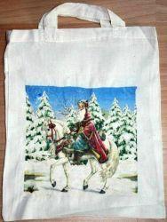 Baumwolltasche-Weihnachtsmann-auf-Schimmel