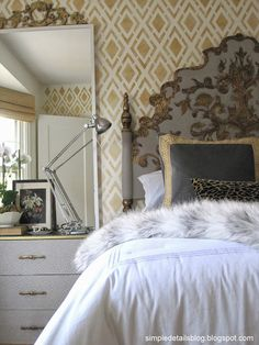 one room challenge: stunning bedroom makeover with Ikea Rast hack and craigslist headboard Gold Bedroom, Bedroom Wall, Bedroom Decor, Master Bedroom, Light Bedroom, Bedroom Inspo, Casas Magnolia, Boudoir, By Any Means Necessary