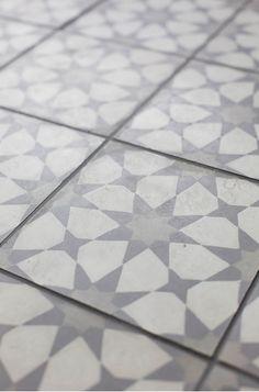 Love this vintage style tile, looks like star quilt blocks! Coastal Blue Laundry…
