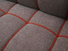Modern sofa - I'm Knots by RUM.station I might add bright piping to my dark grey comforter- maybe in chartreuse. Living Room Upholstery, Upholstery Cushions, Upholstery Nails, Furniture Upholstery, Upholstery Repair, Upholstery Cleaning, Bench Cushions, Fabric Sofa, Modern Sofa