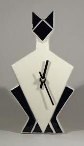art deco clocks - Google Search Art Nouveau, Desktop Clock, Cat Clock, Cool Clocks, Art Deco Posters, Ceramic Birds, Art Deco Design, Surreal Art, Art Deco Fashion