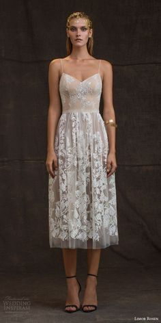 "Limor Rosen 2016 Wedding Dresses — ""Treasure"" Bridal Collection – Lukin for Love Wedding Dresses With Straps, 2016 Wedding Dresses, Tea Length Wedding Dress, Tea Length Dresses, Wedding Gowns, Wedding Cakes, Wedding Skirt, Party Wedding, Wedding Rehearsal"