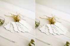 Elegant shaped cut-out tags by Match Set Love Green Wedding Shoes, Real Weddings, Vintage Inspired, Place Card Holders, Stud Earrings, Sams, Elegant, Pretty, Mothers