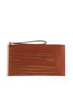 Rainbow Shops Brown Flat Faux Leather Clutch With Fringe Hem $10.99