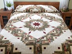 Lone Star Log Cabin Quilt -- terrific well made Amish Quilts from Lancaster (hs6488)