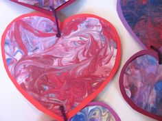 Shaving Cream Marbled Valentine Hearts...mixing matter lesson idea