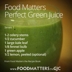 Healthy juice from Food Matters- Day 2 of drinking the perfect green juice and I have more energy & mental clarity than I've had in 10 years.
