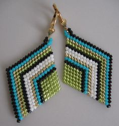 Seed Bead Diamond Shape Earrings - Chartreuse/Turquoise