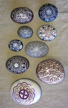 Hint of henna hand painted stones SNS DESIGNS