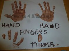 activities to accompany hand, hand, fingers, thumb Lesson Plans For Toddlers, Indoor Activities For Toddlers, Preschool Lesson Plans, Preschool Letters, Preschool Books, Preschool Learning, Early Learning, Preschool Crafts, Preschool Winter