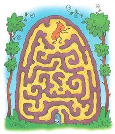 Mier zoekt de weg naar buiten, kleuters / Лабиринт для детей 4-5 лет