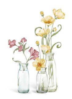 Pastel Watercolor, Watercolor Pencils, Watercolor Paintings, Watercolor Illustration, Illustration Flower, Watercolor Techniques, Botanical Art, Diy Painting, Art Lessons