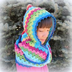 harlequin hoodie scoofie scoodie free crochet pattern granny stripes squares rainbow