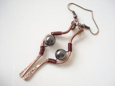 Handmade Earrings-Hematite Wire Wrapped by AnnaRecycle on Etsy