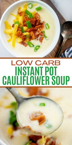 Our loaded Instant Pot Cauliflower Soup is thick, creamy, and tastes just like my favorite potato soup. We start with bacon for loads of flavor, cream cheese for some body, and then we top it all off with cheddar, bacon, and green onions. This cauliflower 'potato' soup will go on repeat in your house! #ketosoup #cauliflowersoup Cauliflower Potato Soup, Loaded Cauliflower, Sugar Free Recipes Healthy, Low Carb Recipes, Lunch Recipes, Soup Recipes, Loaded Potato Soup, Low Carb Diet Plan, Keto Side Dishes