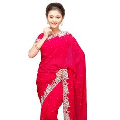 Fuchsia Faux #GeorgetteSaree with Blouse