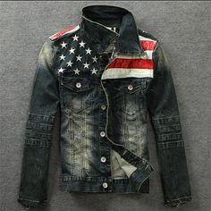 Tienda Online Chaqueta para los hombres de Moda de la bandera americana  denim motocicleta chaqueta de vaquero denim denim jacket coat con la piel  para los ... 0b8cf9b8a96a