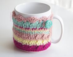 Cozy Mug Coffee Multicolored Yellow Emerald Pink Fuchsia Handmade Artisanal Ceramic Pearl sweater Tea Sleeve Cover Crochet Wool Ooak