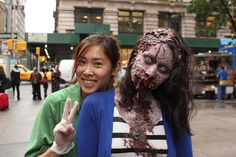 Zombies:  Makeup artist Sue Lee with one of her undead creations (Thinkmodo)