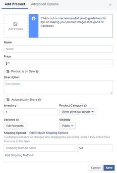 Facebook webshop instellingen